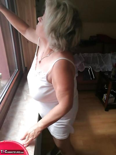 Horny grandmother slides..