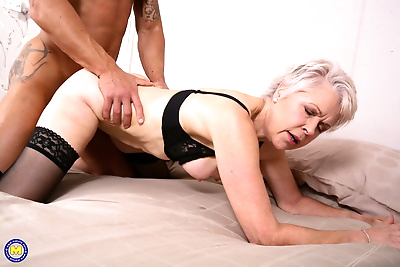 Horny granny kissing her..