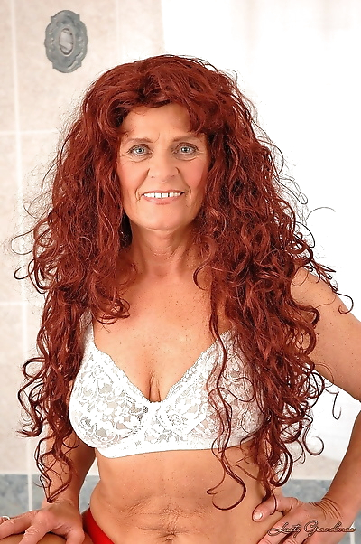 Long haired redhead granny..