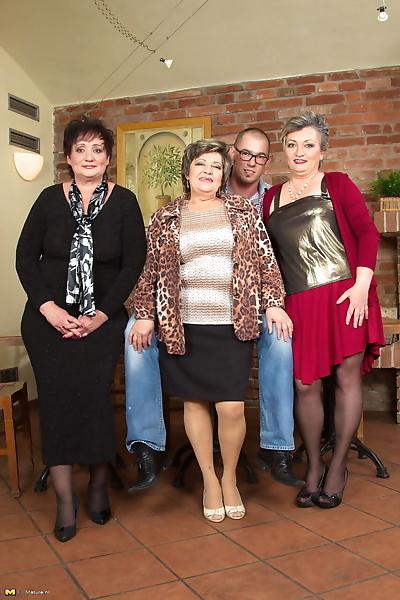 Clothed grannies display..