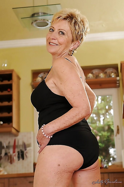 Lecherous blonde granny with..