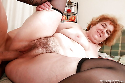 Lusty granny in stockings..