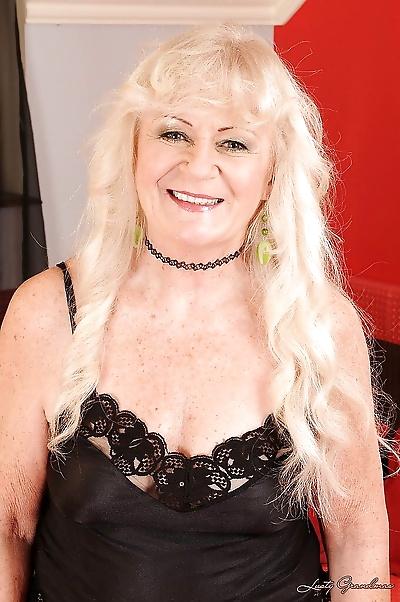 Blonde granny in stockings..