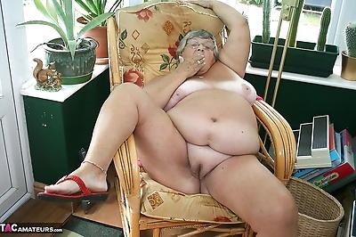 Horny old granny in glasses..