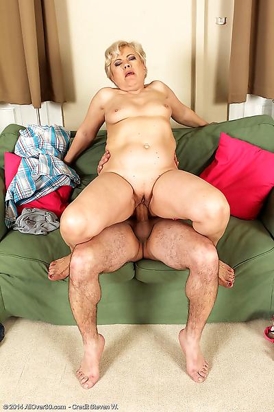 Horny grandma delivers a..