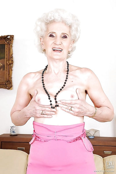 Granny takes off her panties..