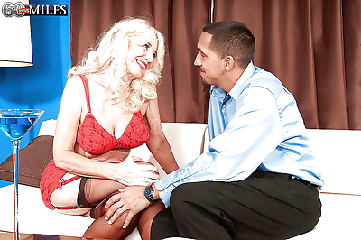 Big boobed blonde granny..