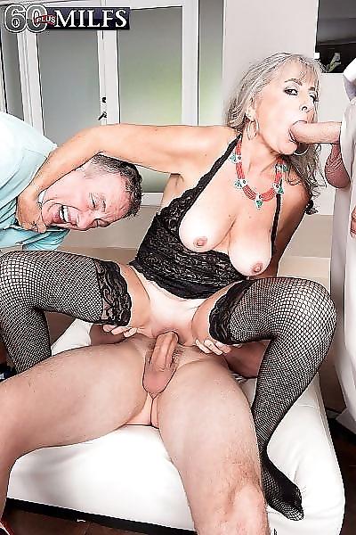 Granny threeway cuckold sex..