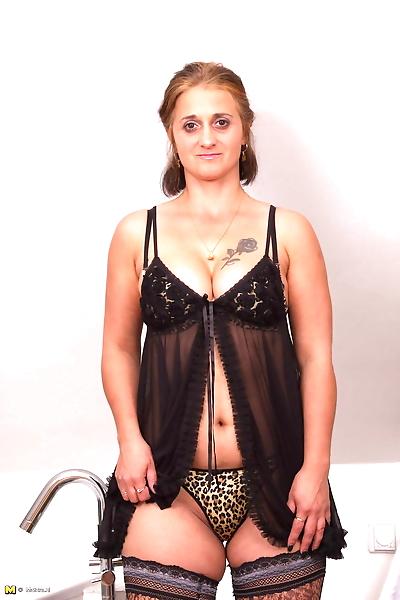 Horny housewife gitting..