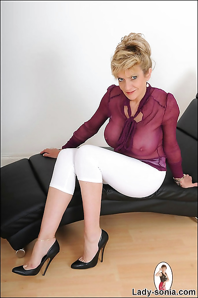 See thru busty nylon blouse..