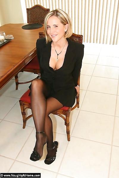 Busty milf secretary strips..