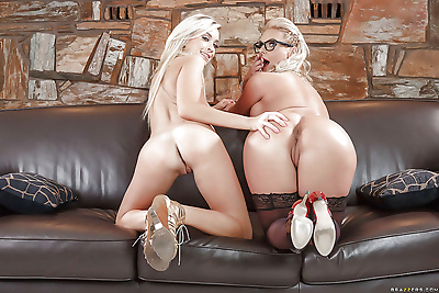 Glasses clad blonde milf and..