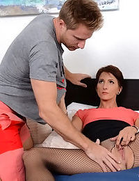 Short haired mom Missy Lee spreading crotchless hose covered legs