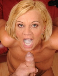 Tattooed blonde granny takes off her maid uniform Orhidea and gets nailed