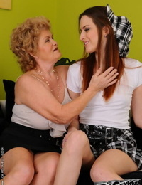 Lesbian fuck features teen cutie and a horny granny Effie in high heels